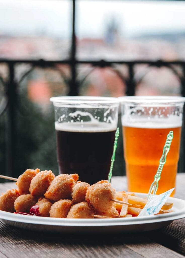 Czech beer and fried cheese in Prague