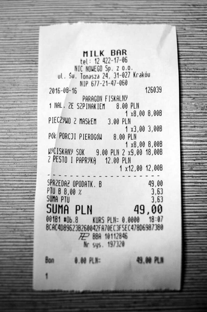 Receipt from Milk Bar in Krakow - Cheap Eats