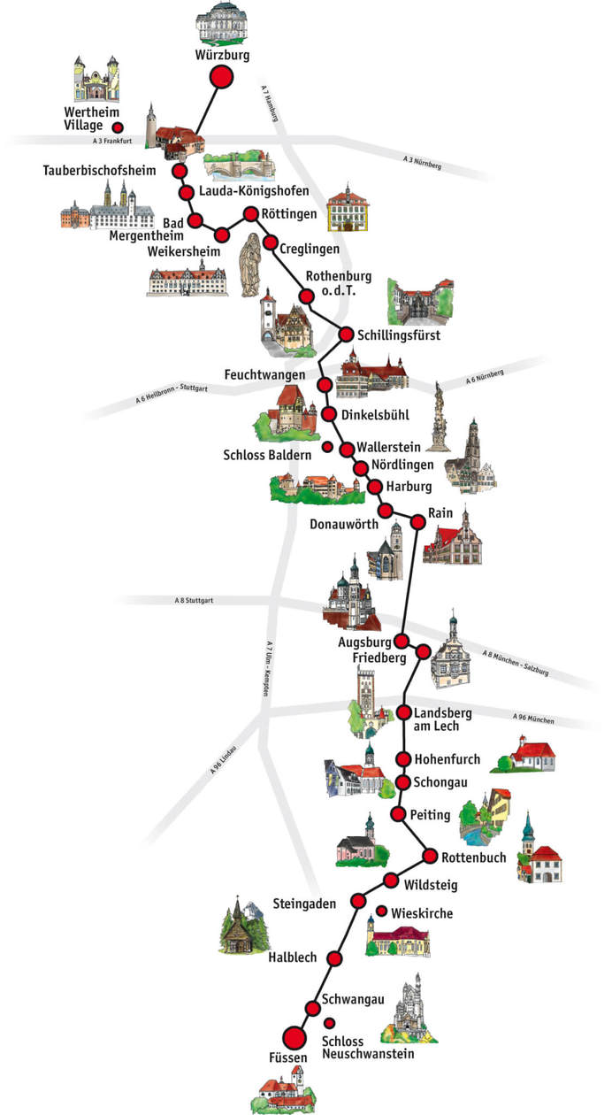 The Romantic Road Germany // Map of 28 Towns and Villages