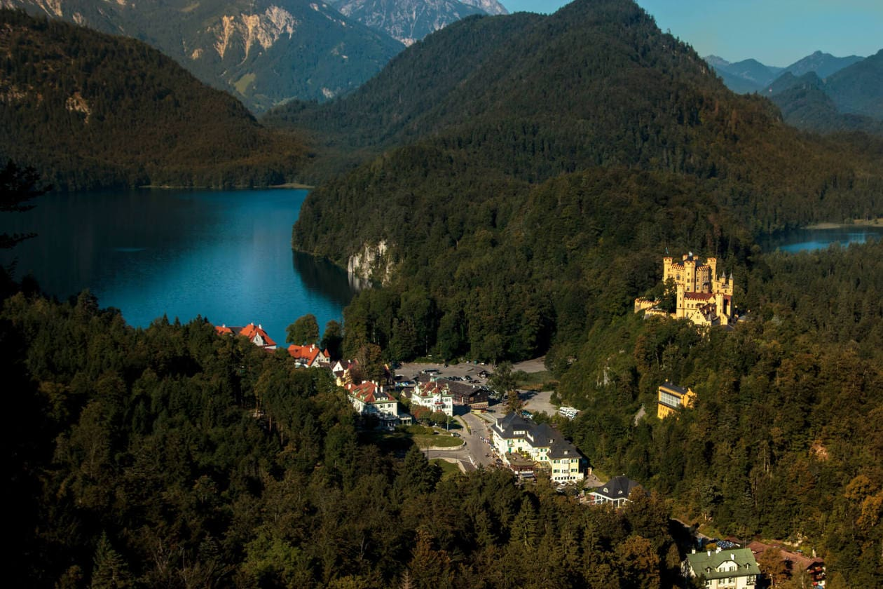 View of Hohenschwangau from Neuschwanstein Castle