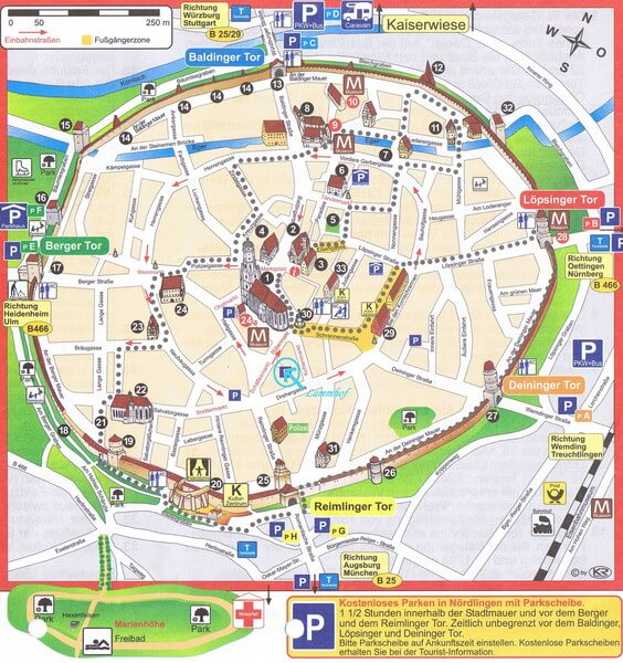 Nordlingen Map : The Romantic Road Germany