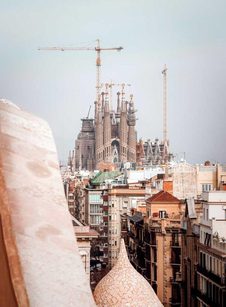View of La Sagrada Familia from Casa Mila