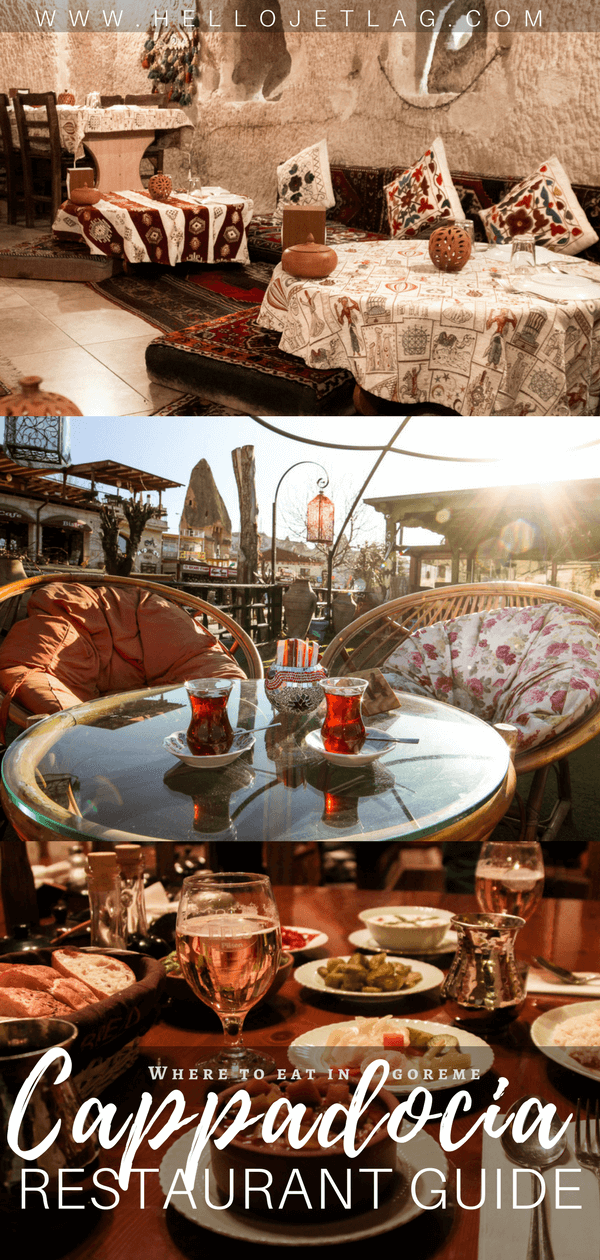 Where to eat in Goreme, Turkey // A list of 7 Cappadocia restaurants to check out, including where to find the most authentic pottery kebab, the prettiest patio to sip Turkish Tea, and where to get the best food.