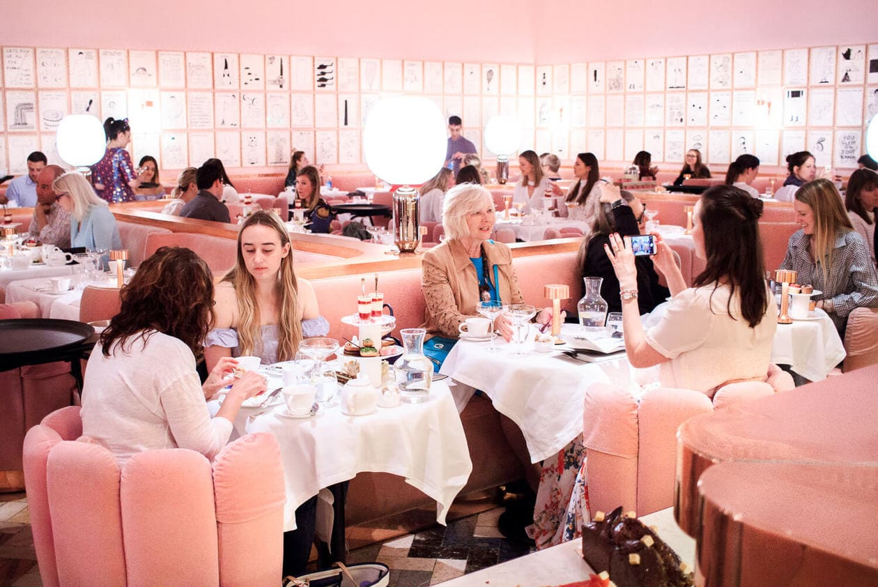 Inside London's most instagrammable restaurant. Keep reading for more information about Sketch Afternoon Tea in their famous pink restaurant, The Gallery.