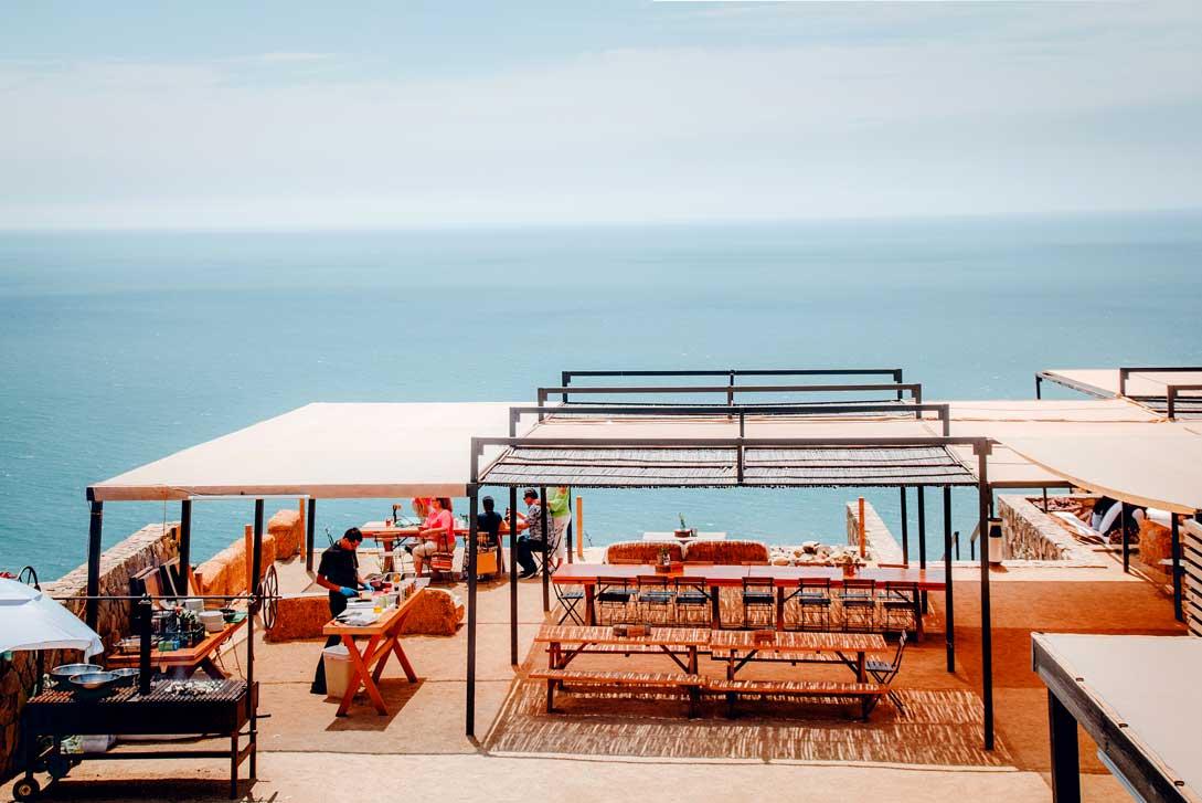 Overhead view of Bar Bura in Ensenada, Mexico