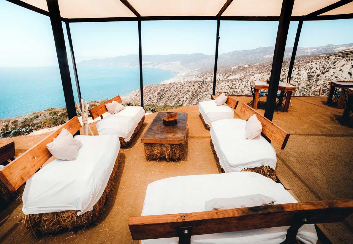 Bar tables overlooking Baja California coastline