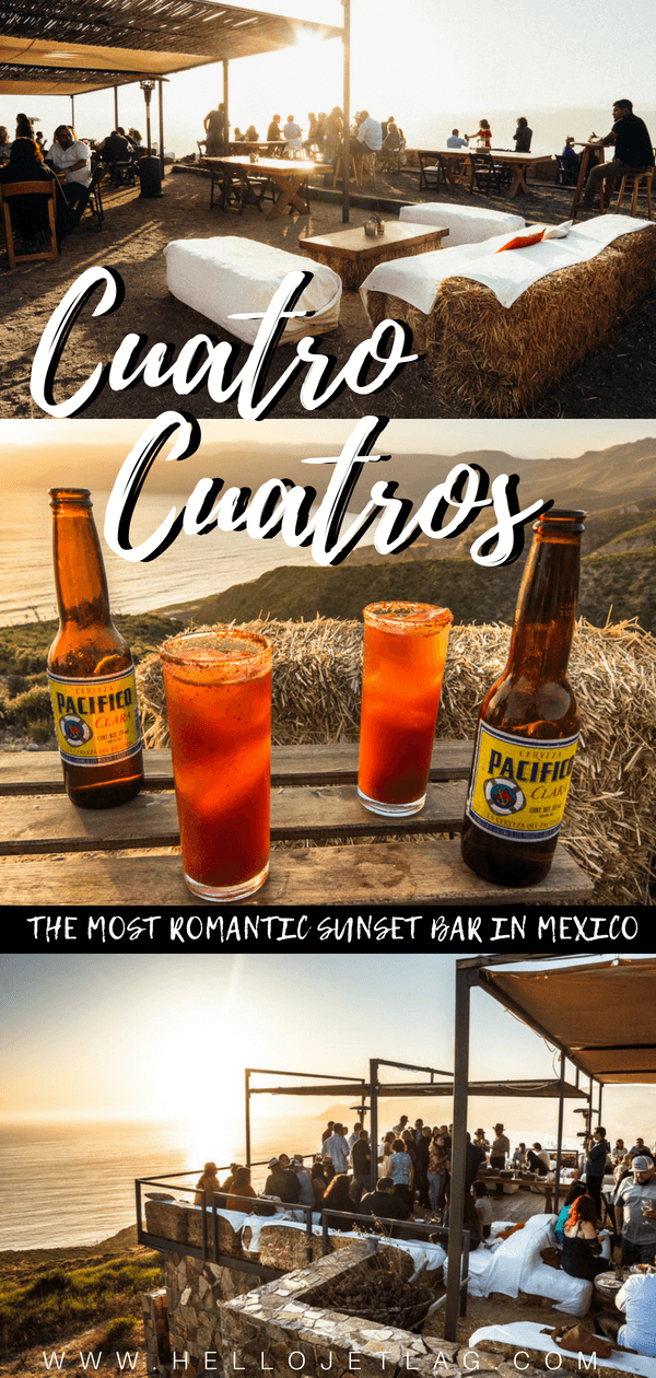 Cuatro Cuatros Bar Bura is cliffside bar and one of the most romantic places in Baja California, Mexico to sit back, drink wine and watch the sunset. Keep reading for information about how to get there from Valle de Guadalupe and Ensenada + view photos and discover tips for visiting.