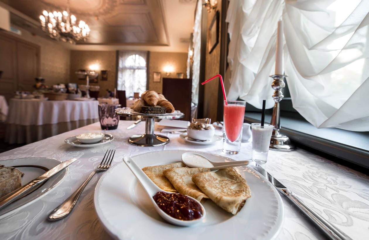 Hotel Breakfast at Gallery Park Hotel and Spa in Riga, Latvia