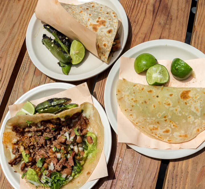 Tacos el Yaqui Carne Asada Tacos in Rosarito Mexico // Valle de Guadalupe is an up and coming wine region located in Mexico's Guadalupe Valley. With unique wineries, restaurants and hotels Valle de Guadalupe is the perfect weekend getaway from San Diego, or a great day from from Ensenada. Keep reading to discover where to eat, which wineries to visit and where to stay in Baja California's trendy hidden gem.
