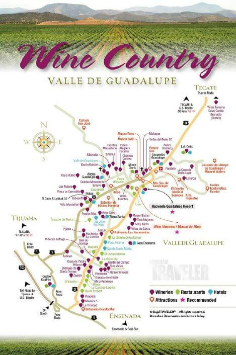 Valle de Guadalupe Winery Map