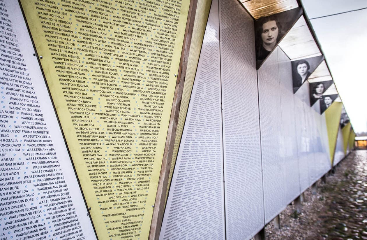 Wall of 70,000 names at The Latvian Holocaust Museum in Riga