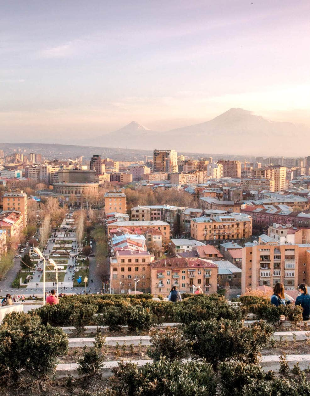 Yerevan from Cascade // Where to try Armenia's legendary brandy, find the best deals on locals souvenirs and discover the best view of the The Pink City (best seen during sunset!). Keep reading for a list of the top things to do in Yerevan, plus 5 hotels to fit any budget.