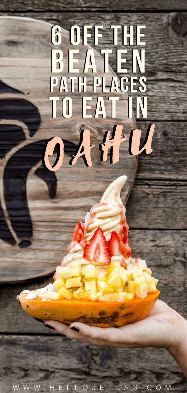 From locally sourced (instagrammable) banana soft serve, to a hole in the wall deli serving up the best kimchee pancakes. Discover where to find the best pizza and poke in Oahu, and the best breakfast in Waikiki. Keep reading for 6 of the best off the beaten path places to eat in Oahu.
