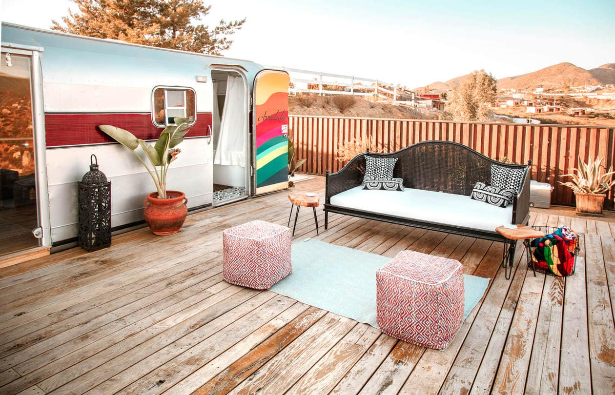 Arre Lulu Baja is a renovated airstream in Valle de Guadalupe, the wine region of Mexico. With it's instagrammable decor, large patio, soaking bathtub and valley views, this Airbnb is the perfect, unique place to stay in Baja California.