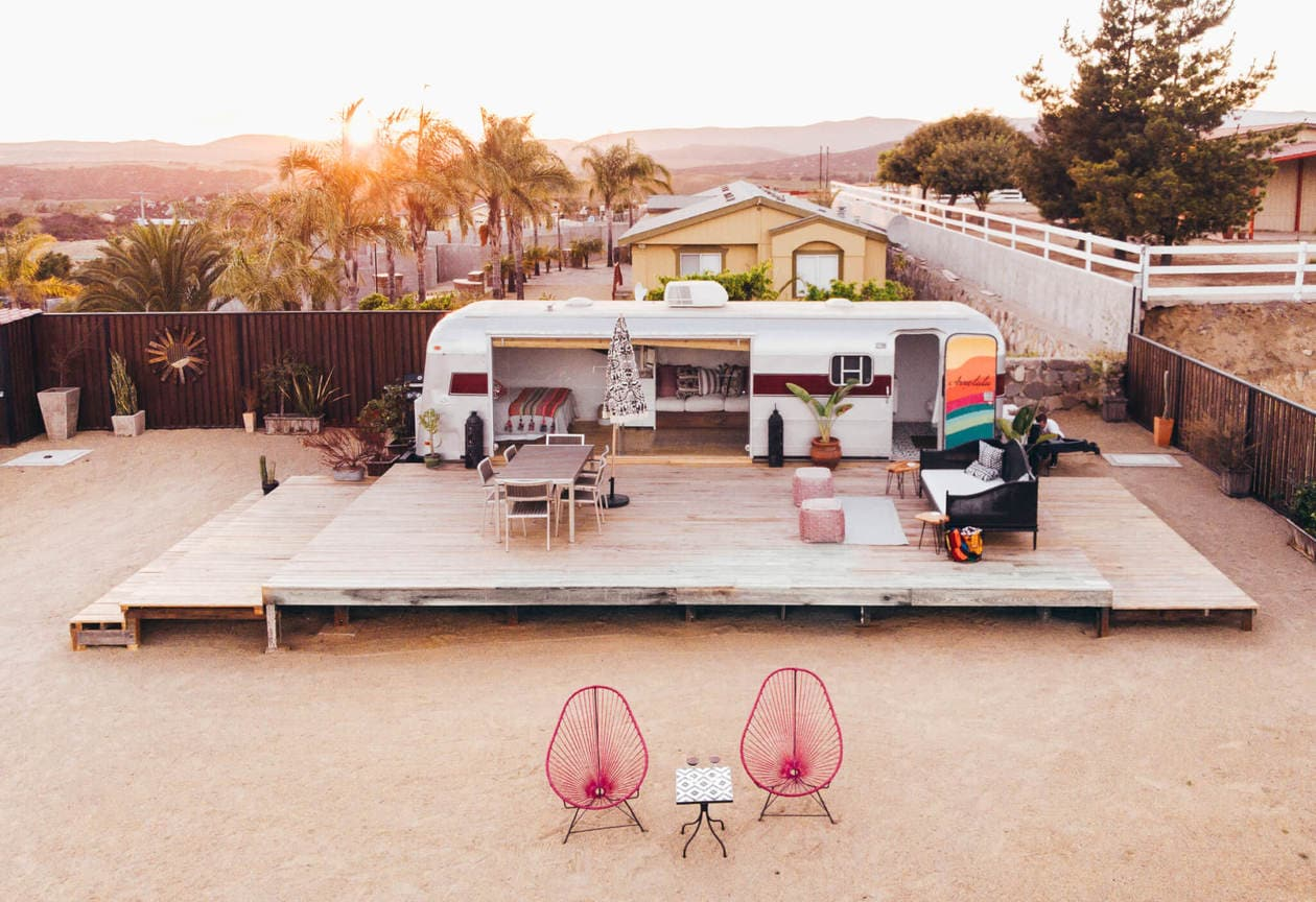 Arre Lulu Baja is a renovated airstream in Valle de Guadalupe, Mexico's wine region. With it's instagrammable decor, large patio, soaking bathtub and valley views, this Airbnb is the perfect, unique place to stay while you're in Baja California.