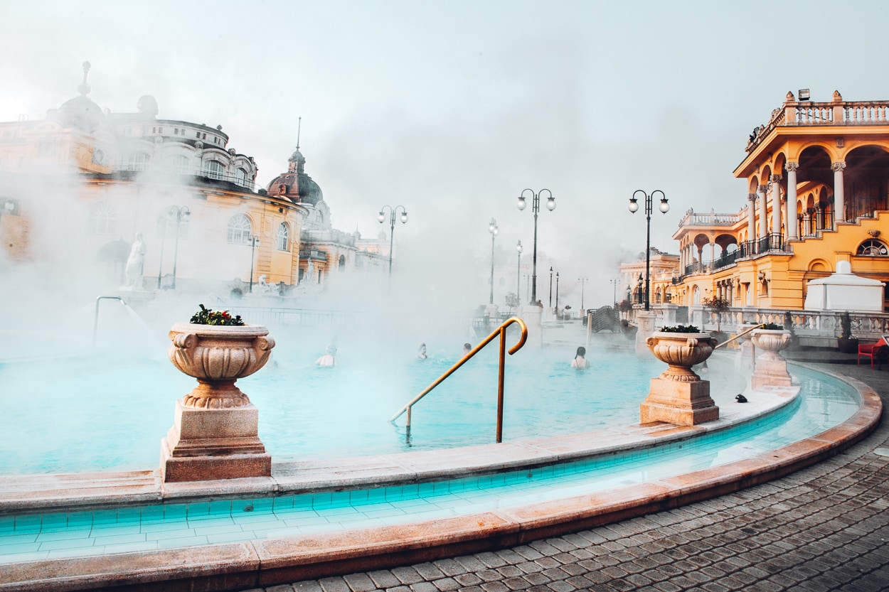 Outdoor thermal baths in Budapest