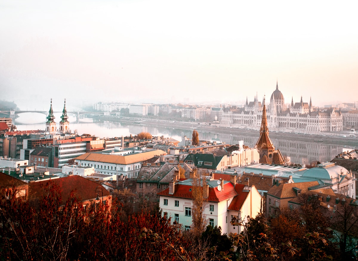 View of Danube and Hungarian Parliament Building from Fisherman's Bastion