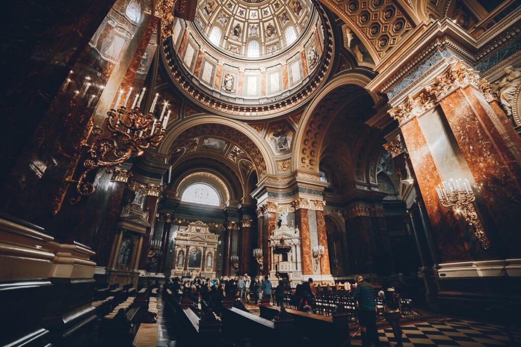 Inside St Steven's Church in Budapest