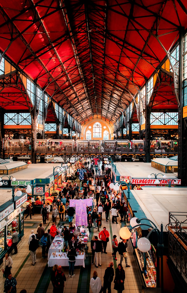 Overhead view of the Budapest Central Market Hall