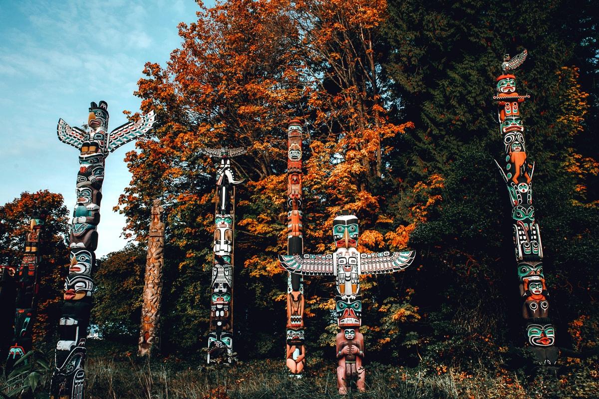 Brockton Point Totem Poles in Stanley Park