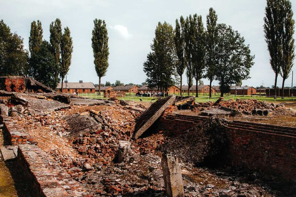 The ruins of a gas chamber and crematoria at Birkenau (Auschwitz II)