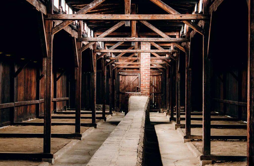 Touring Auschwitz men's barracks