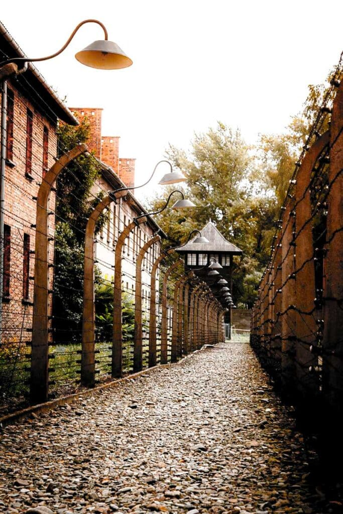 Auschwitz double electric fence