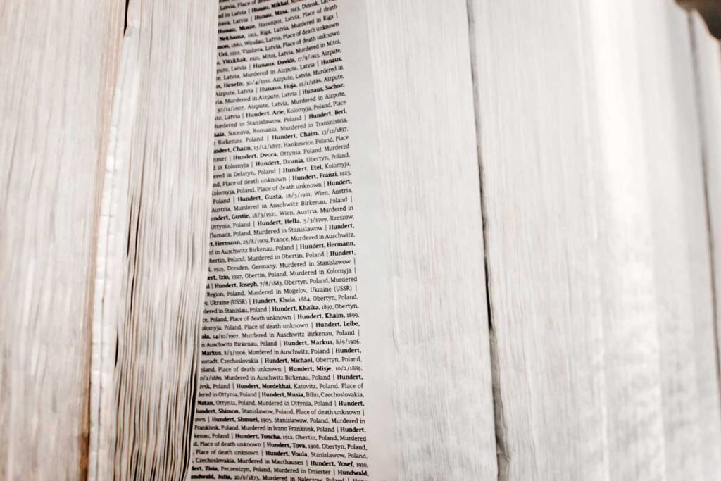 Book of Names at Auschwitz