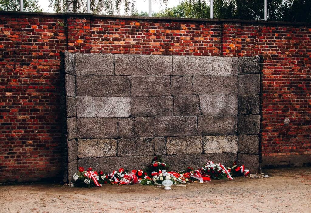 The death wall at Auschwitz I in Poland