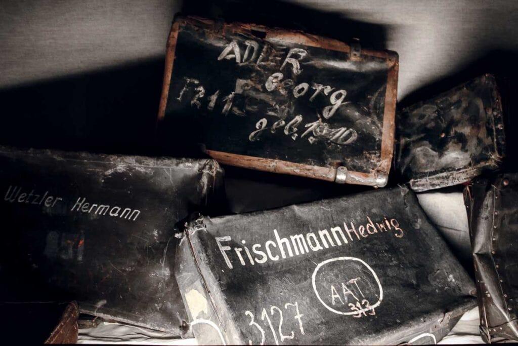 Suitcases at Auschwitz memorial in Poland