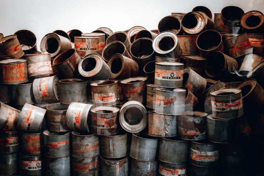 empty cans of Zyklon B at Auschwitz in Poland