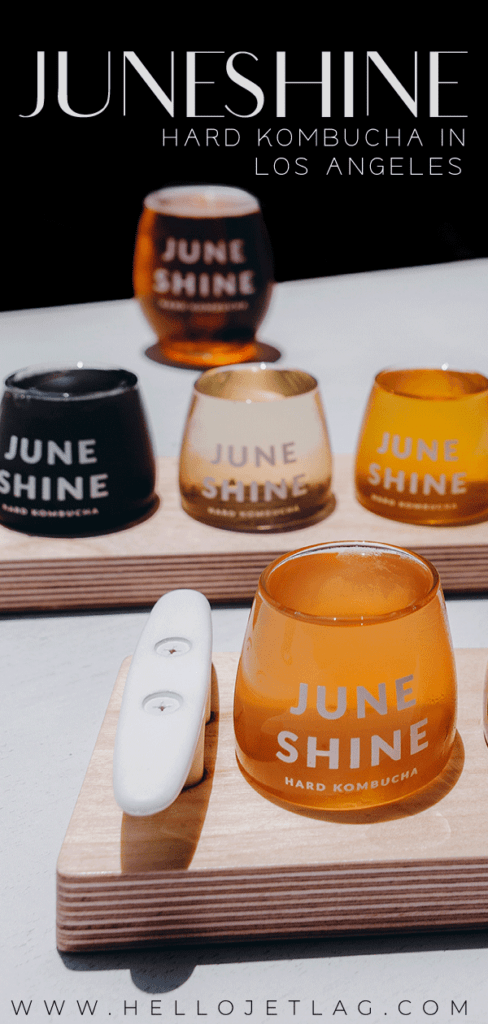 Juneshine is a hard kombucha tasting room in Santa Monica, California. Discover what to expect, how to get there, photos, the flavors / menu and more.